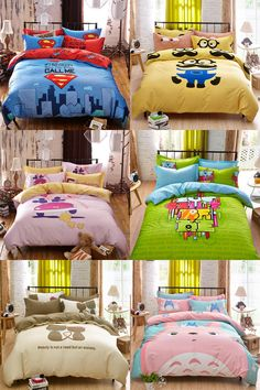 [Visit to Buy] 100% cotton 3/4pcs Superman cartoon boy/girl kids bedding set Bed Linen 3d bedding sets duvet cover bed sheet pillowcases Queen #Advertisement