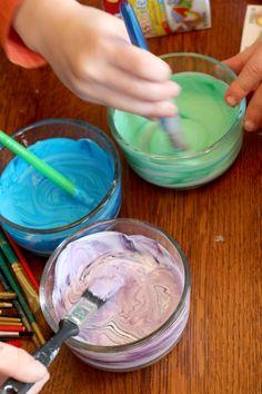 Mix colored glue to tint Mason jars