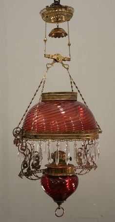 OIL CHANDELIER ~ A real Cranberry Swirl gone with the wind