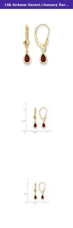 14k 6x4mm Garnet/January Earrings, Gem Ctw.1.04. Attributes Polished 14k Yellow gold Leverback Genuine Garnet Bezel Pear Product Description Material: Primary - Purity:14K Stone Type 1:Garnet Stone Color 1:Red Stone Quantity 1:2 Length of Item:23.5 mm Stone Weight 1:0.520 ct Charm/Element Length:23 mm Charm/Element Width:5 mm Material: Primary:Gold Stone Shape 1:Pear Stone Size 1:6.00 x 4.00 mm Stone Treatment 1:Not Enhanced Width of Item:4.5 mm Product Type:Jewelry Jewelry Type:Earrings...