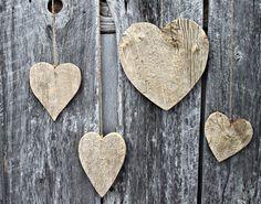 rustic barn board hearts wedding bridal shower decoration reclaimed wood 4 hearts. $32.00, via Etsy.