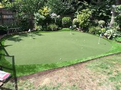 SYNLawn Vancouver installed golf putting green. Notice dead natural grass beside due to water restrictions. 866-758-7888.