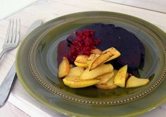 Typical Swedish food. Black pudding. Here served with apple and Lingonberries. #swedishfood