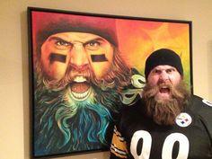 Painting by Scott Spillman. The original hangs in Brett Keisel's home Steelers Pics, Here We Go Steelers, Pittsburgh Steelers Football, Pittsburgh Sports, Steelers Stuff, Pitt Steelers, Football Baby, Football Team, Beard Art