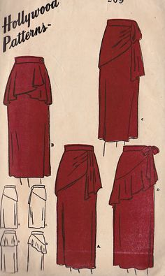 40's skirts.  Some nice ideas for bottom of dress