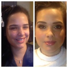 #BTS #beforeandafter #makeover with our beautiful bride Saydi.  #40'sglamour #lashes #goldensmokeyeyes #liner #latina #nudelips #contour #makeup by Maya Goldenberg #bridalbeauty #hairandmakeupteam #onlocation #mobilemakeup hair by Melissa Noelle www.mayagoldenberg.com