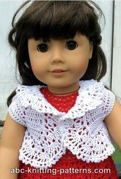 ABC que hace punto los patrones - American Girl Doll Vintage Lace Bolero Ag Doll Clothes, Crochet Doll Clothes, American Doll Clothes, Knitted Dolls, Doll Clothes Patterns, Crochet Dolls, Doll Patterns, Knitting Patterns, Crochet Patterns