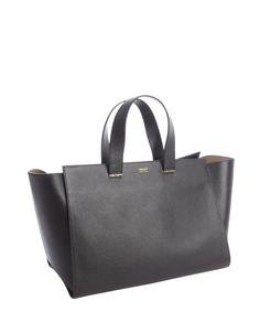 Armani : black textured leather shopper tote : style # 329162901