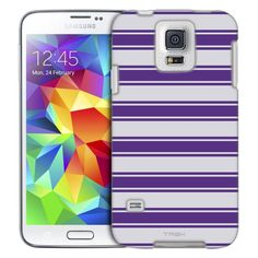 Samsung Galaxy S5 Purple Strips on Grey Pattern Slim Case