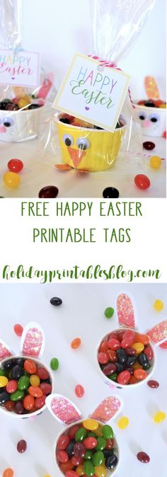 Happy Easter free printable tags...the perfect spring party favor idea! Plus, learn how to make these DIY bunny and chick favor cups!