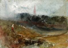 JMW Turner - Petworth Church Seen from Rectory Meadows 1827