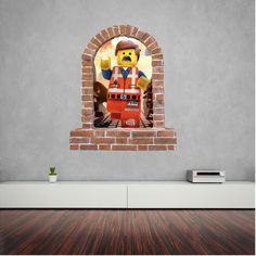 Lego Emmet stickers brick window wall sticker and decals. Wall Stickers, Decals, Window Wall, Brick, Lego, Room Ideas, Windows, Wall Clings, Wall Decals