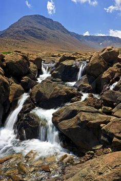 Photo of a waterfall along the Tablelands Trail in Gros Morne National Park, Newfoundland. Newfoundland And Labrador, Newfoundland Canada, Wonderful Places, Beautiful Places, Gros Morne, Formations Rocheuses, Photos Voyages, All Nature, Beautiful Waterfalls