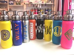@thinksport insulated water bottles monogrammed with vinyl. Get one for you and the whole family. $25.00 for the bottle including monogram #sport #monogrammed #monogram #preppy #aew #summer