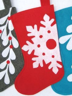 Felt Christmas Stocking  Snowflake  Choose Your by stitcholicious, $18.00