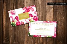 Check out this item in my Etsy shop https://www.etsy.com/ca/listing/255038993/floral-gold-business-card-design  Business Card Design - Template