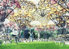 Summer pavilions built from old rope and bicycle wheels to open in New York.