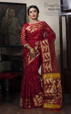 Pure Handloom Dhakai Jamdani Saree in Red with Multi Color Polka Dots Dhakai Jamdani Saree, Handloom Saree, Silk Sarees, Bengali Saree, Indian Sarees, Pakistani, Indian Attire, Indian Wear, Saree Blouse