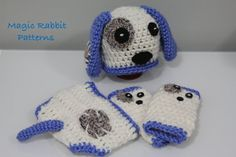 Newborn Crochet Puppy Hat Diaper cover  and by MagicRabbitPatterns, $5.50