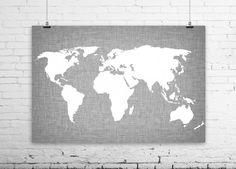 World Map Linen Art Print - Modern Wall Art - Gray & White World Map Silhouette - Home Dorm Decor