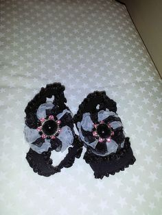Shabby Chic Hot Pink and Black Infant barefoot sandals