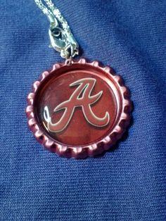 "Red Alabama Crimson Tide Letter ""A"" Bottle-cap Necklace on 23"" silvertone chain #AlabamaCrimsonTide"