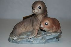 "Vintage 1981 HOMCO Masterpiece Porcelain 6"" 2 BABY SEALS PUPS SEA LIONS Figurine"