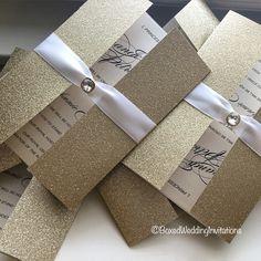 Gold glitter invitation card  See more at www.boxedweddinginvitations.com  #invitation