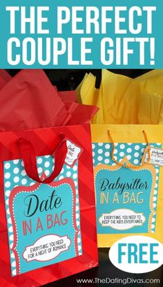 I so want to do this for our married friends this Christmas- maybe add in a certificate for free babysitting in the babysitter bag. Homemade Christmas Gifts, Homemade Gifts, Craft Gifts, Diy Gifts, Holiday Gifts, Christmas Diy, Best Gifts, Couple Christmas Gifts, Cheap Gifts