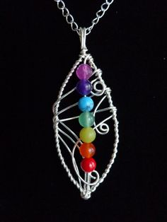Seven Chakras Pendant, Gemstones Pendant with Chain, Meditation and Balance Necklace, Wire Wrapped, Handmade by Iris Jewelry Creations.