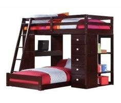 A junior loft bed with a desk is a great way to save space in a teen room. A junior loft bed is all your furniture built into one solid unit for...
