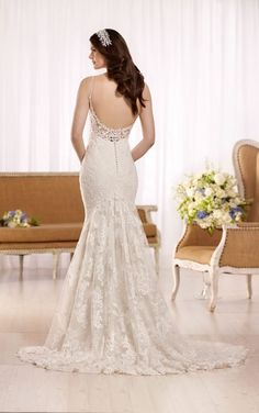 D2143 Lace wedding dress with Diamante accents by Essense of Australia