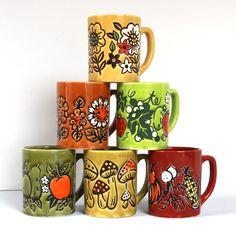 $29.00 Vintage Coffee Cups Fruit Vegetable Flower Motif Set of 6 by LittleShopofWhatNots on Etsy