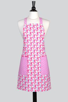 Womens Cross Back Apron  Modern Pink and Purple Crossover