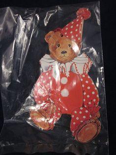 GORDON FRASER GALLERY Teddy Bear Christmas Gift Tag Clown Set of 4 ~ VINTAGE NEW