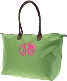 tinytulip.com - Monogrammed Medium Longchamp Style Tote Bag in lime green, $36.50 (