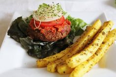 Veggie burger and fries... Raw Food Recipes