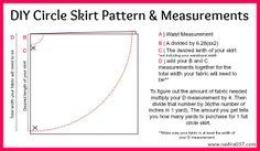 DIY circle skirt pattern and measurements