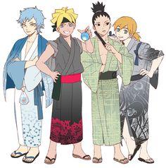 Tags: Fanart, NARUTO, PNG Conversion, Noeunjung93, Uzumaki Boruto, Nara Shikadai, Yamanaka Inojin, Mitsuki (Naruto)