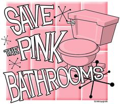 from the late tile, pink toilet, pink light fixtures.keeping it on purpose. It's so retro. my aunt has one in her house.pink and black. Pink Love, Pretty In Pink, Pink Purple, Vintage Bathrooms, Pink Bathrooms, Pink Toilet, Bathroom Colors, Bathroom Ideas, Small Bathroom