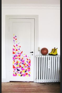 confetti door.. good idea ... different materials and pattern