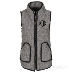 Monogrammed Woven Herringbone Vest from Marley Lilly