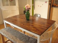 best ideas for kitchen table ikea hack paint Ikea Table, Diy Table, Table Bench, Couches For Small Spaces, Large Table, Modern Dining Table, Diy Furniture, Painted Furniture, Diy Home Decor
