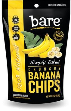 Bare Snacks makes crave-ably crunchy fruit and veggie chips that are baked never fried, gluten free, non GMO, with no preservatives or anything artificial. Chips Packaging, Packaging Snack, Food Packaging Design, Baked Banana Chips, Bare Fruit, Banana Flour, Veggie Chips, Organic Recipes, Cookies Et Biscuits