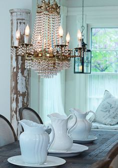 ironstone pitchers, crystal chandelier