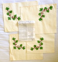 4 Holly Design Placemat Cross Stitch Needlepoint Project with Instructions Holiday Craft Gift