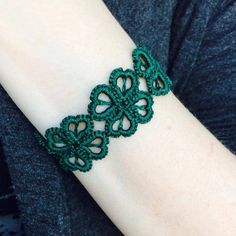 Tatted Cuff Bracelet  Hearts and Clovers  Green by TotusMel, $20.00