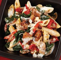 baked kale and sausage ziti..UPDATE:  Made this for dinner, tonight.  My husband and I really liked this.  Will probably use fresh tomatoes instead of sun-dried next time.  Super healthy, and completely satisfying. Gotta love healthy comfort food...