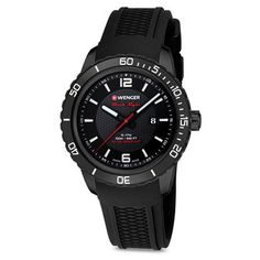 Wenger - Watches - Large Black Dial, Black PVD Case, Silicone Strap