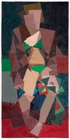 Ken Kewley, Holding Striped Pants, painted paper collage